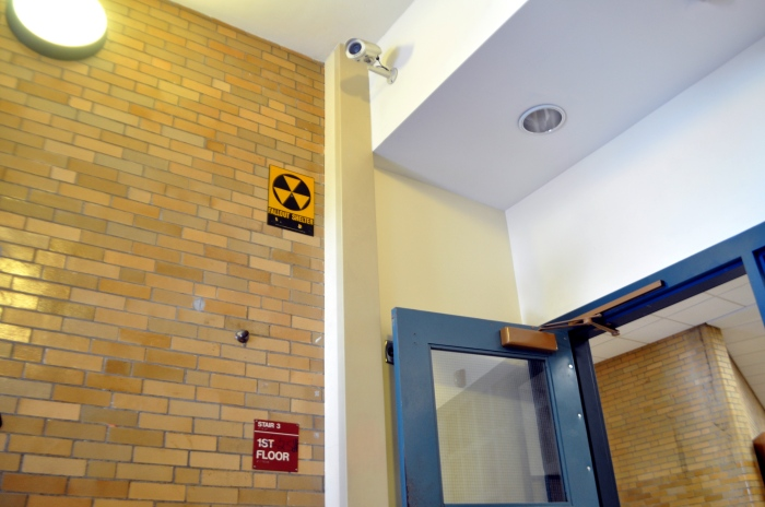 Boston Community Leadership Academy-Interior Fallout Shelter Sign