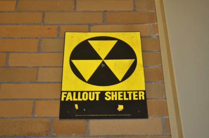 Boston Community Leadership Academy-Interior Fallout Shelter sign closeup
