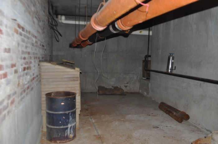 Up Academy/Patrick Gavin School-Interior crawl space to Fallout Shelter supplies
