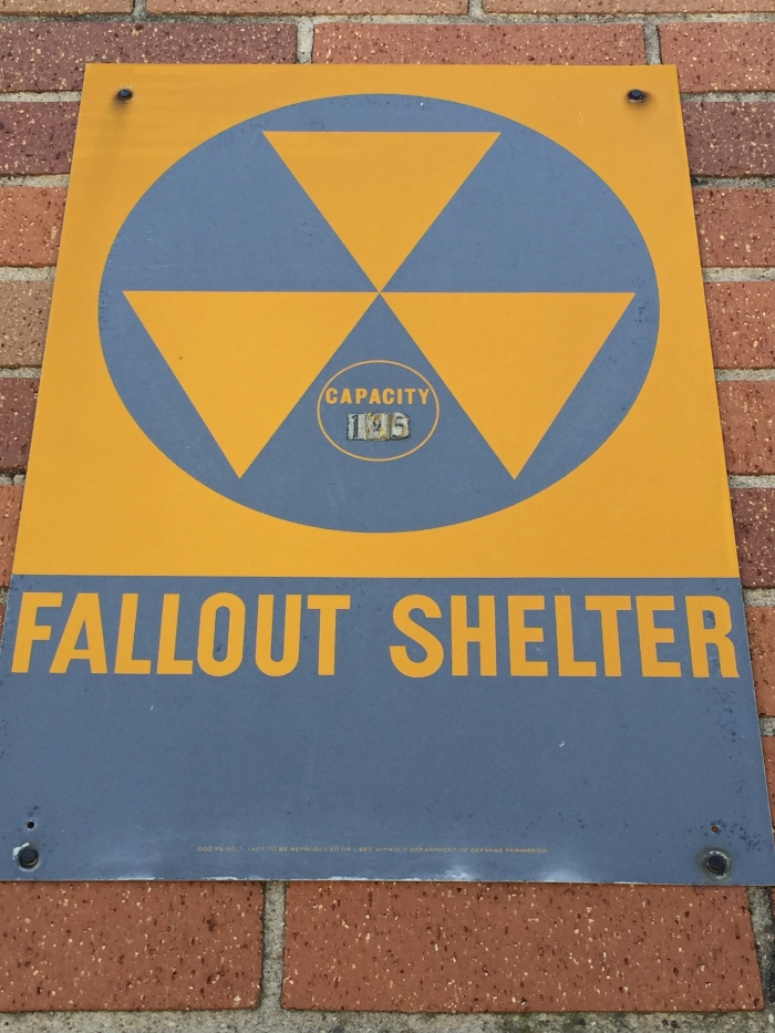Roy Kelley Elementary School exterior fallout shelter sign