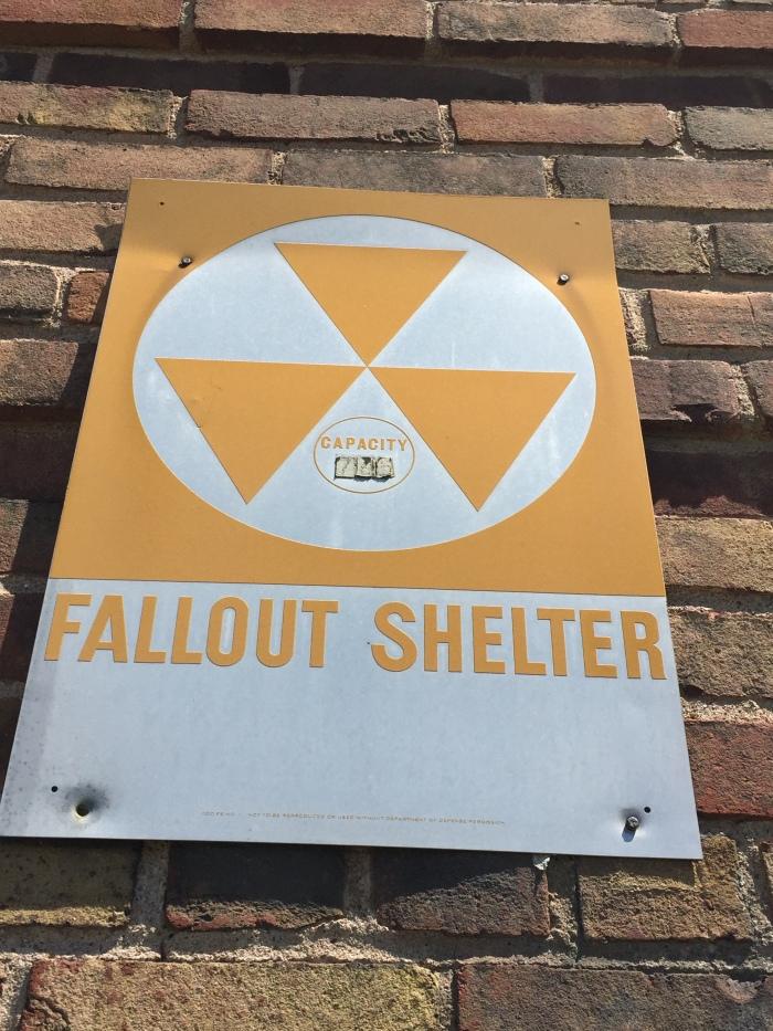 Niagara County Infirmary exterior fallout shelter sign