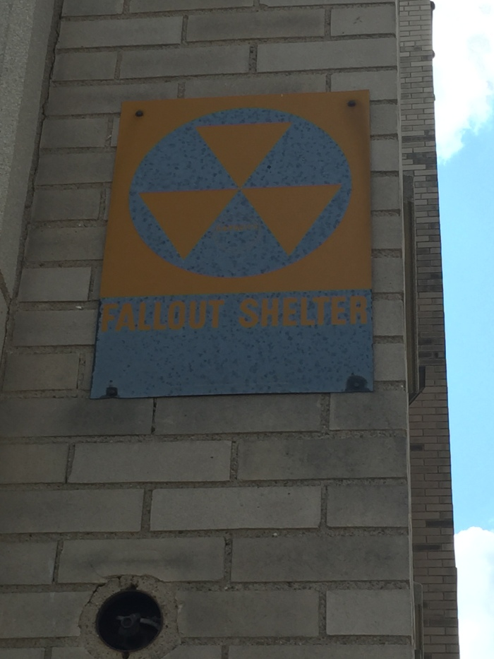 Fraternal Order of Eagles exterior fallout shelter sign