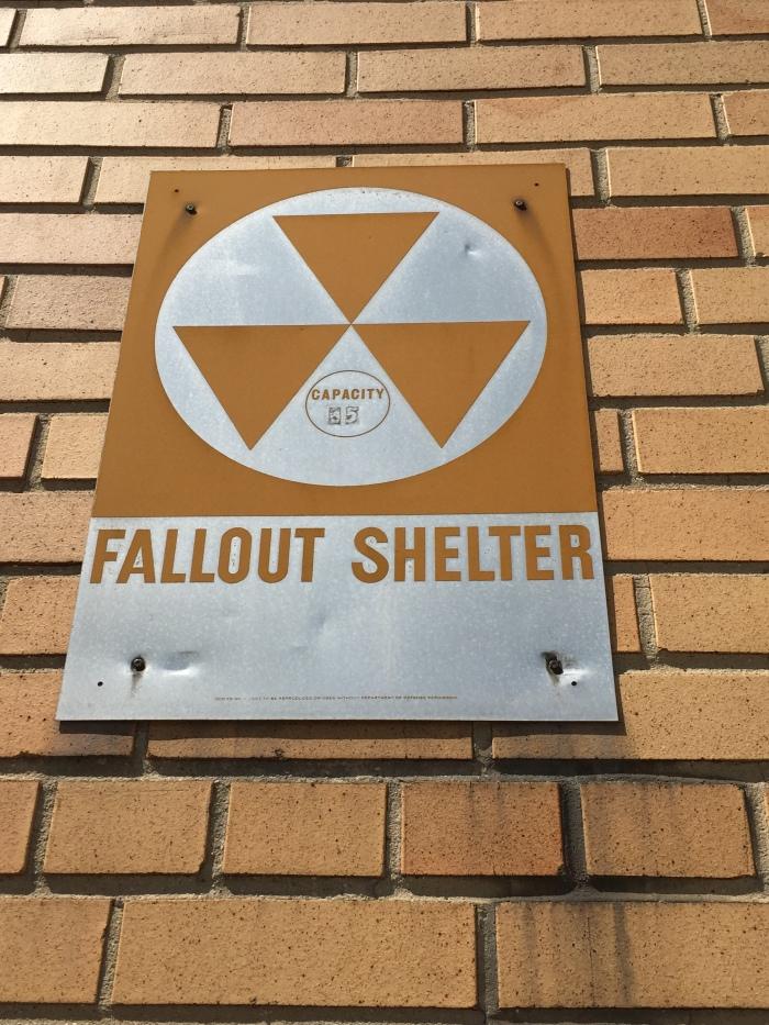 St. Mary's School Lockport NY exterior fallout shelter sign
