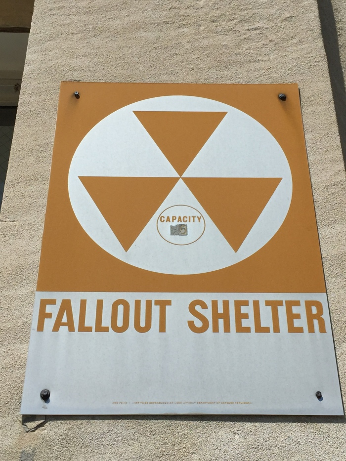 Charlotte Cross Elementary School exterior fallout shelter sign