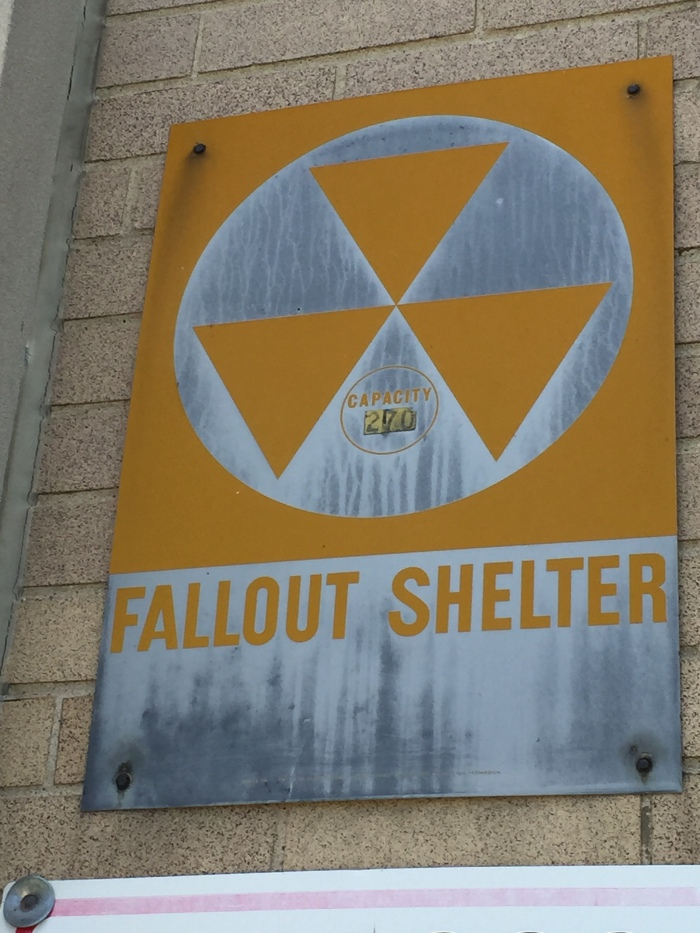 Lockport High School exterior fallout shelter sign
