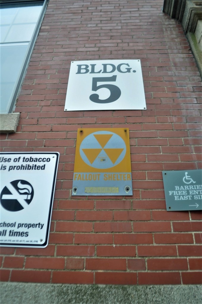 New Bedford Town Offices Building 5 Fallout Shelter sign (Right side)